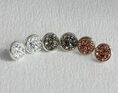 Druzy stud earrings, silver posts gray rose small pierced studs post 12mm hypoallergenic metal faux resin