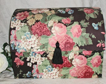 HUGE Vintage Black Floral Cabbage Rose Chintz Fabric-Covered Domed Jewelry Trunk With 8 Drawers, Earring Holders and Mirror