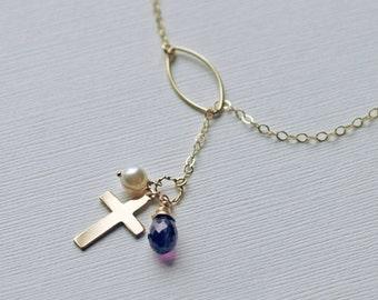 Cross Lariat Necklace, Gold Lariat Necklace, Personalized Necklace, Silver Cross Necklace, Gold Y Necklace, Catholic Gift, Faith Gift