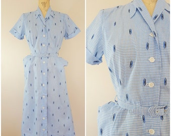 Vintage 1940s Dress / Blue and White Checks / Day Dress / Cotton / Small