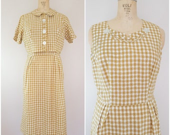 Vintage 1960s Dress and Jacket Set / Checks / Checkered Dress / Wiggle Dress / Medium Large