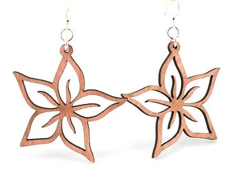 Plumerias - Laser Cut Earrings from Reforested Wood