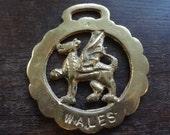 Vintage Wales Welsh Dragon Horse Brass tack decor lucky charm good luck gift souvenir medallion circa 1970's / English Shop