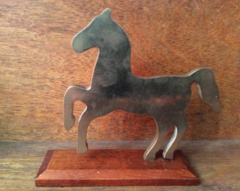 Vintage English brass metal horse on stand ornament figurine circa 1950-60's / English Shop