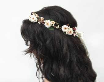 Mini Ivory Rose Crown, Ivory Bridal Flower Crown, Rustic, Bridal Headpiece, Flower Girl Flower Crown, Floral Crown, Flower Girl Hair Wreath