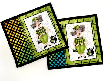 Quilted Kitty Mug Rugs - Set of 2 Quilts - Green & Rainbow Colors - Crazy Cat Lady Gift - Reversible Quilt Placemats Fiber - Handmade Quilt