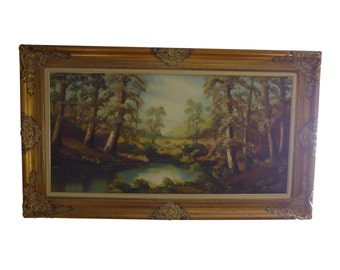 Large  Oil Painting of Lake Scene in Gilt Frame - 56 by 33 Inches