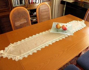 Precious lace shabby chic elegant linen lace table runner beautiful ecru french cottage style decor dinning table overlay home decoration