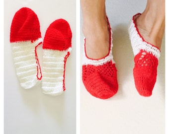 Red and White Crochet House Shoes, Slippers, Size M, Hand Made in the U S A, Item No. Bgde05