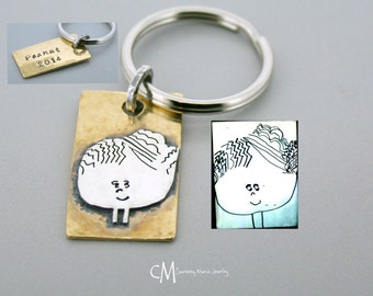Kid Drawing keychain - Sterling Silver Child Artwork Drawing keychain - Child drawing