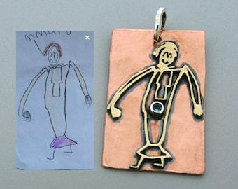 Mothers Day Gift From Kids - Child Artwork Pendant- Birthstone Pendant - Child Drawing Pendant - Handmade Pendant- 3mm Round Birthstone