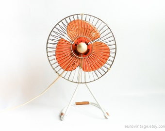 Vintage Electric Fan Transparent Orange Plastic Blades / Chrome Metal Cage