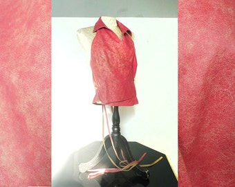 coral pink leather halter crossover wrap top . vintage 1990's . size medium