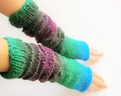 LONG Fingerless Gloves, Multicolored, Merino Wool Mittens, Women Arm Warmers , Hand Knitted, Eco Friendly