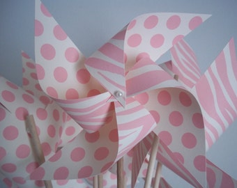 Zebra & Polka Dots. Girl Shower or Nursery Decor. Paper Pinwheels. Light Pink and Cream. (set of 6 large)