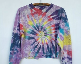 Vintage 90s Tie Dye Long Sleeve Cropped T Shirt Distressed M L