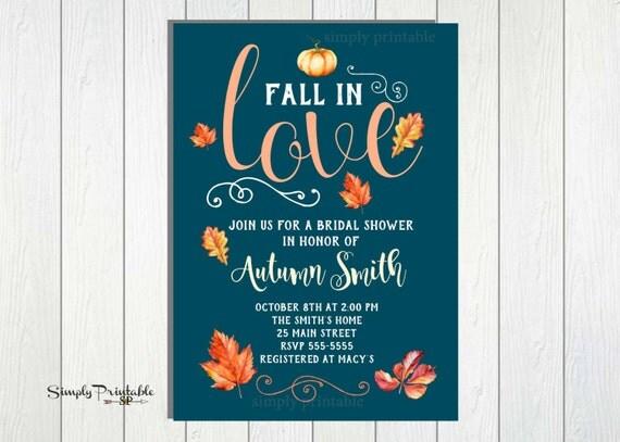 Autumn Bridal Shower Invitation, Fall in Love Invite, Digital and Printed Pumpkin Invite, Teal
