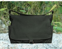 Holiday On Sale 10% off black cotton canvas shoulder bag, school bag and travel bag for men and women
