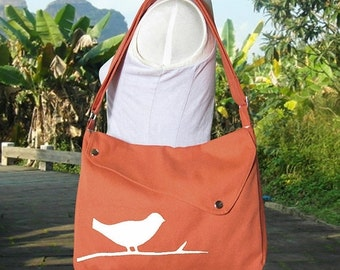 Summer Sale 10% off Orange cotton canvas  shoulder bag / bird messenger /messenger bag / diaper bag / cross body bag