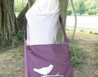 Summer Sale 10% off Purple cotton canvas messenger bag / shoulder bag / bird messenger /diaper bag / cross body bag