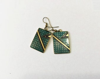 FREE SHIPPING//Vintage Green and gold rectangle and triangle dangle earrings