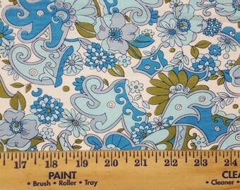 Blue floral Paisley Cotton Jersey