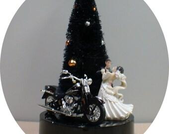 Halloween Wedding Cake Topper Groom top w/ harley davidson motorcycle PICK color Black, Red, Purple, Blue