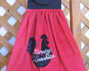 """Rooster Kitchen Tea Towel Embroidered with """"Morning Sunshine"""" Hanging Kitchen Dish Towel with Rooster Black Kitchen Towels SnowNoseCrafts"""
