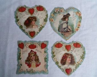 Set of 4 Vintage Victorian Valentines Single Cards Antique Pretty Ladies