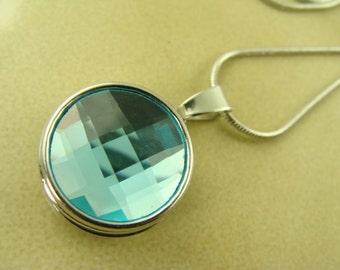 AQUAMARINE MARCH BIRTHSTONE 18mm snap button silver Necklace