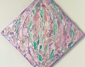 Textured painting Mixed media pink purple teal glitter accents. 12x12 inches