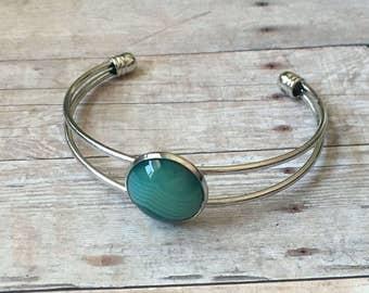 Seafoam jasper cuff bracelet