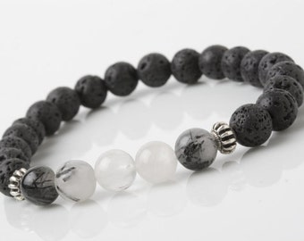 Tourmaline and lava stone bracelet, Lava Stone stretch bracelet, men bracelet, black Stone bracelet, yoga bracelet, Black bracelet
