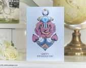 Anchor and Rose Tattoo Handmade Fathers day Card