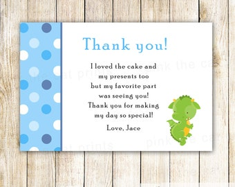Dragon Thank You Card Note - Blue Green Baby Boy Shower Kids Birthday Party Printable Editable File INSTANT DOWNLOAD