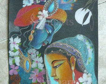 Krishna Radha divine love original drawing full moon night also available as art cards and prints
