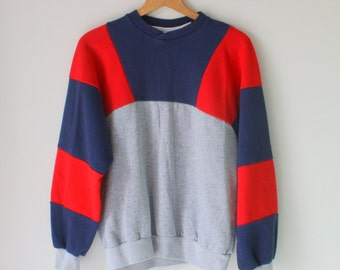1980s Red Navy Gray Oversized Geometric Sweater...one size. free size. colorful. bright. retro. hipster. striped. 1980s sweater. rad. fun