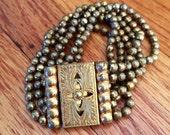 Art Deco Brass Ball Chain Multi Strand Bracelet with Ornate Box Clasp
