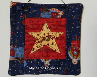 Christmas Star Mini Quilt - Original Design~ Yellow, Red and Blue ~ 6 Inch Square