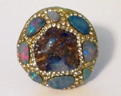 NewYear SALE Boulder and fire opal and swarovski ring