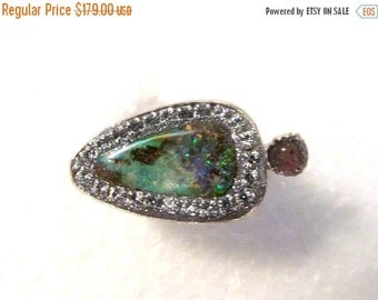 FALL SALE Boulder Opal and Pink tourmaline sterling silver Ring