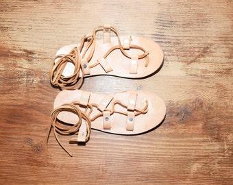 Vintage Greek Lace Up Sandals , Gladiator Sandals sz7