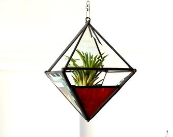 Pyramid Beveled Glass Orb Air Plant Planter with Red-Yellow Accent.
