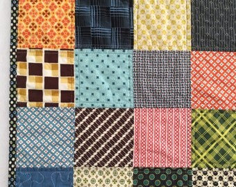 Gender Neutral Retro Patchwork Baby Boy or Baby Girl Modern Quilt -  Ready to ship!