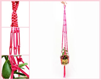 Indoor - Outdoor - Pink Macrame  Plant  Hanger - Hanging Basket 5mm 40 inches Garden Hanging Planter - Gift Idea
