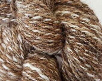 Alpaca yarn - hand spun - Tweedy in Fawn, Medium Brown and Dark Brown