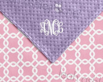 Baby Blanket - Pink Square COTTON, Lavender MINKY Dot - Lily - BB2