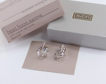 Vintage 1985 Signed Avon Heart Hoop Silvertone Polished Glossy Silver Tone Small J Hoops Earrings in Original Box NIB