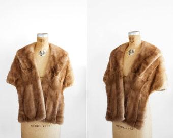 SALE / Vintage Mink Fur Wrap Stole By Hager's - 1940s 1950s