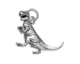 Tyrannosaurus Rex Dinosaur Charm Sterling Silver T. Rex 3D Pendant